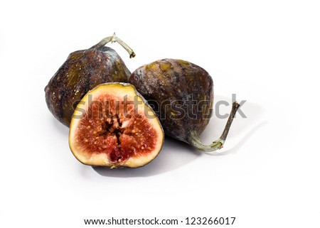several ripe figs isolated on a white background