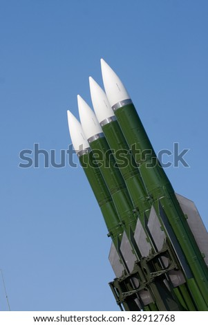 Several Russian combat missiles aimed at the sky. Ready to fly.