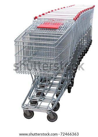 several shopping carts isolated on white