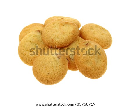 Several small sugar free pecan shortbread cookies on a white background.