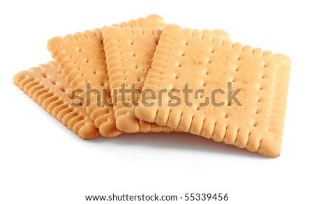 Several tasty crackers isolated on white background - stock photo