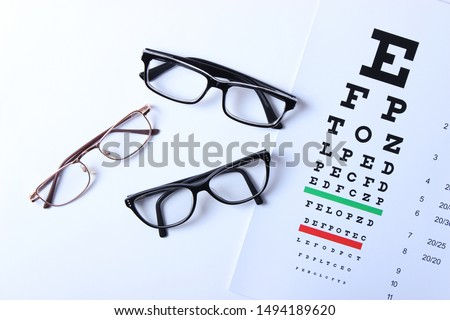 Several types of glasses and a table for checking eyesight on a colored background top view. Vision correction.