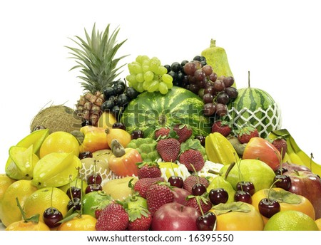 Several variety of fruits. The most common fruits of the world.
