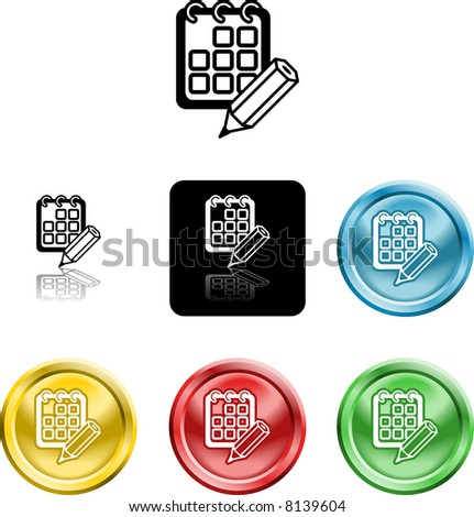 Several versions of an icon symbol of a stylised calendar or schedule and pencil - stock photo