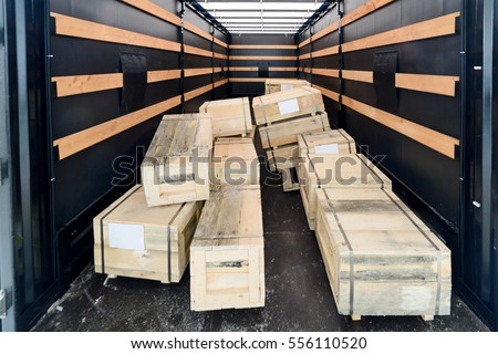 several wooden crates inside...