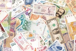 Several world countries paper bank money notes.