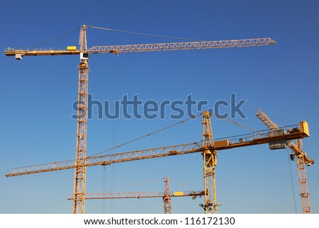 Several yellow tower cranes on a construction site