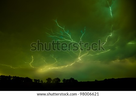 Severe lightning during a summer's night thunder storm