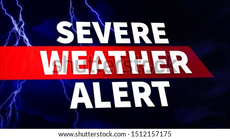 Severe Weather Alert. Warning caution danger notification. White text on blue background with dark clouds and scary lightning strikes. Communication and risk concept. Image for Article, Post, Website