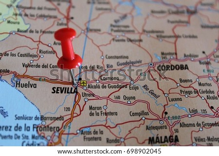 Moron Spain Map.Free Photos Map With Pin Point Of Sevilla In Spain Avopix Com