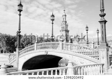 Seville city, Spain - Plaza de Espana. Black and white vintage style.