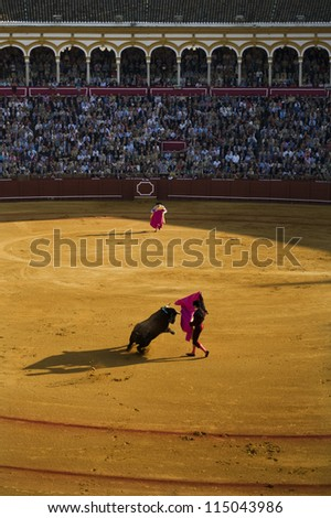 SEVILLE - MAY 4: A bullfighter performs before a sold-out crowd in the Plaza de Toroes de Sevilla May 4, 2011 in Seville, Spain.