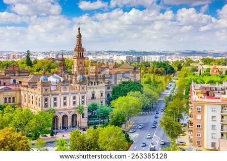 Seville, Spain cityscape with Plaza de Espana buildings.