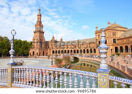 Seville, Spain - famous Plaza de Espana. Old landmark.