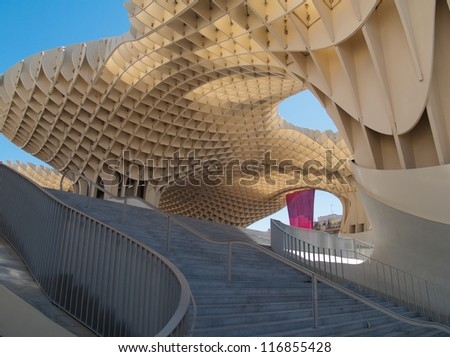 SEVILLE,SPAIN - JUNE 2012: Metropol Parasol in Plaza de la Encarnacion on June 2012 in Sevilla,Spain. J. Mayer H. architects, it is made from bonded timber with a polyurethane coating.