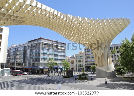 SEVILLE,SPAIN - MAY 9: Metropol Parasol in Plaza de la Encarnacion on May 9, 2012 in Seville,Spain. J. Mayer H. architects, it is made from bonded timber with a polyurethane coating.