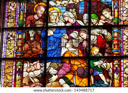 SEVILLE, SPAIN--OCTOBER 20: Nativity Mary Joseph Stained Glass Created 1500s in Seville Cathedral, Cathedral of Saint Mary of the See, Seville, Andalusia Spain on October 20, 2012.  Built 1500s.