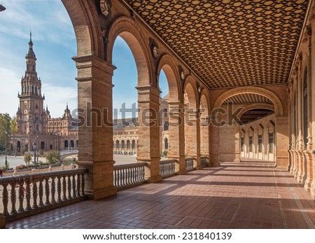 SEVILLE, SPAIN - OCTOBER 28, 2014: The portico of Plaza de Espana square designed by Ani�­bal Gonzalez (1920s) in Art Deco and Neo-Mudejar style.