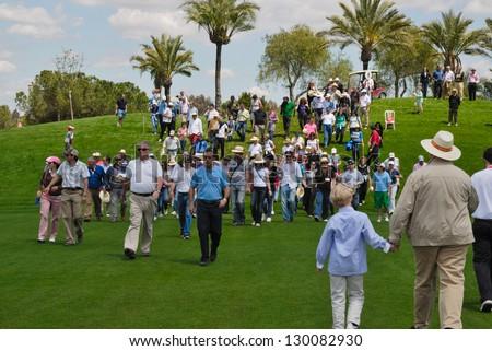 SEVILLE, SPAIN- OPEN GOLF 2012: People  in golf course during Spanish Open golf on may 6, 2012 in Seville.  The tournament took place at the Royal club golf of Seville.