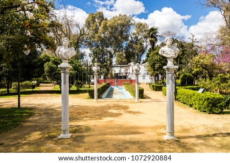 Seville, Spain. The Jardines de las Delicias, a public garden and park built in Romanticism style #1072920884
