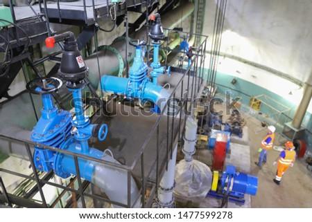 sewage pumping station. pump motors