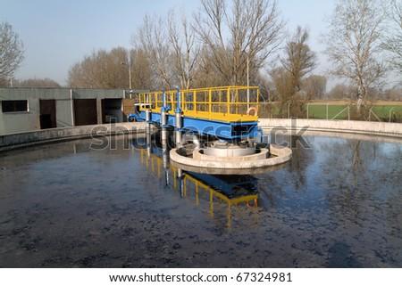Sewage treatment plant - stock photo
