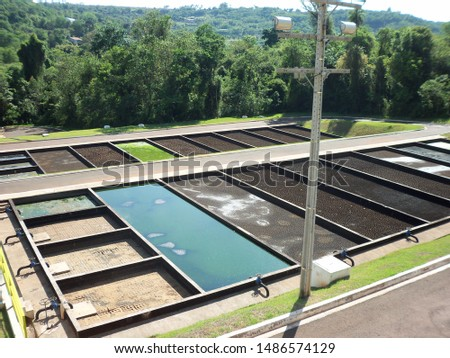 Sewage treatment plant, drying bed