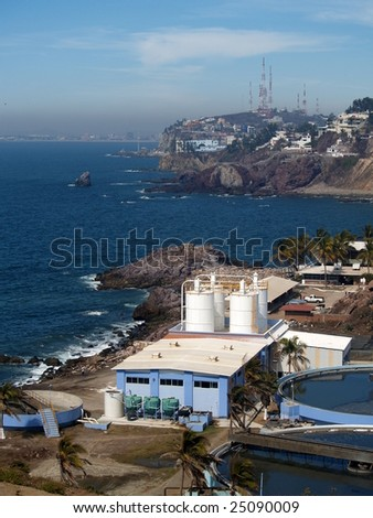 Sewage treatment plant, Mazatlan, Mexico as viewed from the el Faro Lighthouse