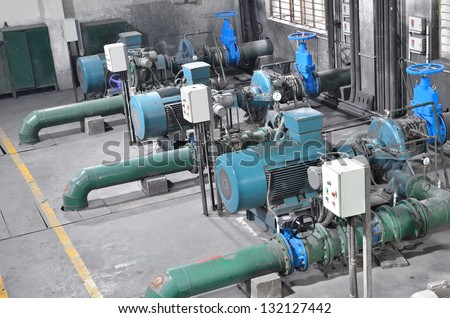 Sewage treatment pumping station -- Sewage treatment plant within the pumps and pipelines