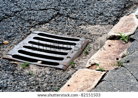 Sewer drain on road