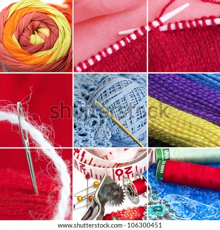 Sewing and knitting collage (single images are in my gallery)