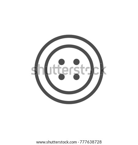 Sewing button line icon isolated on white