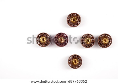 sewing buttons collection. Various sewing buttons with a thread. isolated.  collection of various sewing button on white background. - Shutterstock ID 689763352