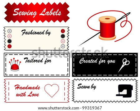 Sewing Labels with copy space to customize with your name, for tailoring, fashion, couture, modeling, do it yourself crafts: needle, thread, scissors, pincushion, buttons, machine, heart, love,