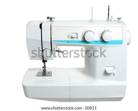 Sewing machine isolated on white.