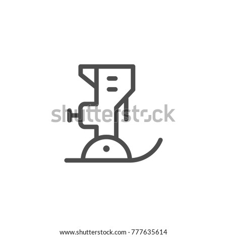 Sewing machine line icon isolated on white