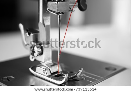 Sewing machine on table, closeup Foto d'archivio ©