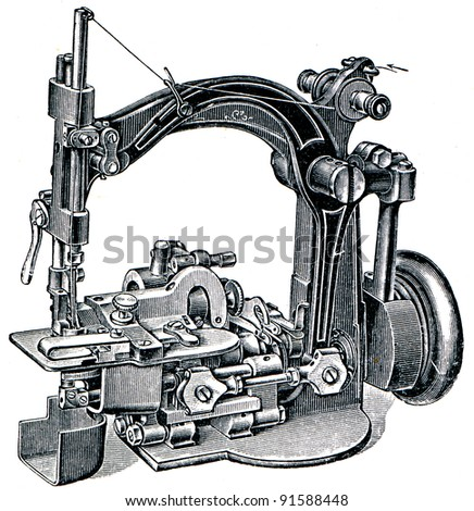 "sewing machine to stitch shapes - illustration from the encyclopedia publishers ""Education"", St. Petersburg, Russian Empire, 1896 - stock photo"
