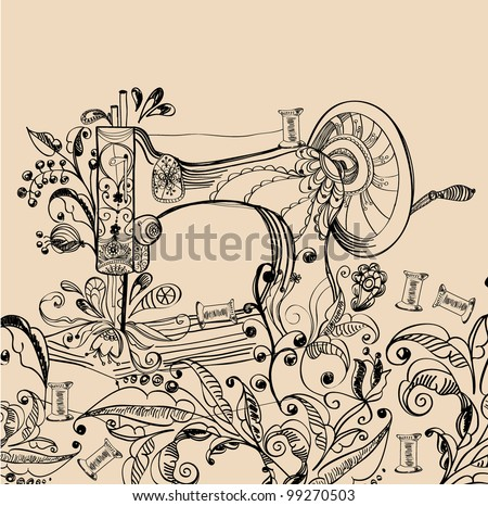 Sewing machine with floral ornament, beautiful background