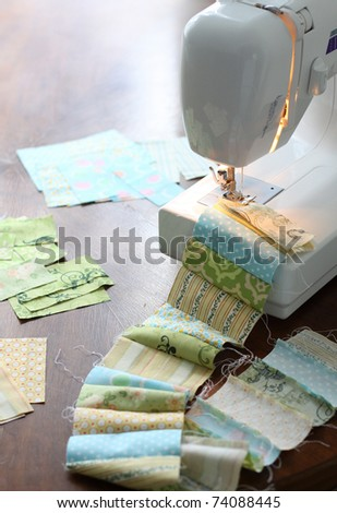 Sewing, making a quilt