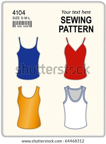 Sewing Pattern, Tank tops in four styles with copy space to add your name or art to customize this do it yourself sewing pattern for women, sizes, bar code, isolated on white background.