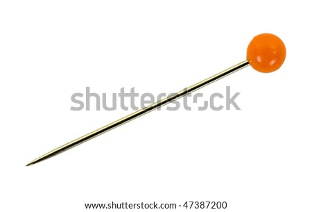 Sewing pin with round red head; isolated, clipping path included