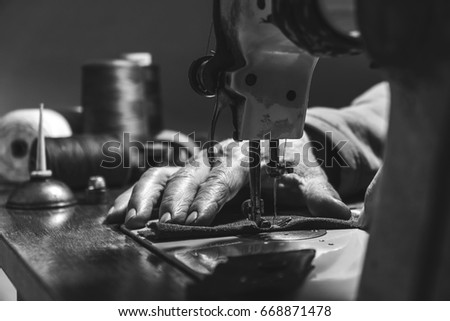 sewing process of the leather...