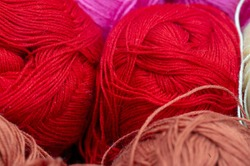 Sewing products. Rolls of wool yarn. multicolor yarn collection