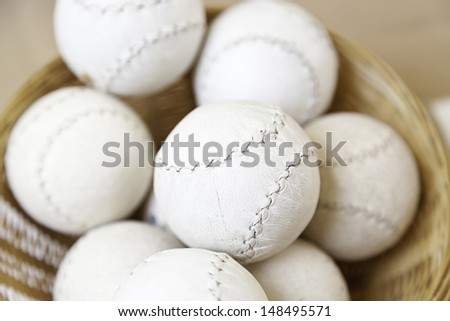 Sewn leather balls, balls detail of a traditional handmade object, sport