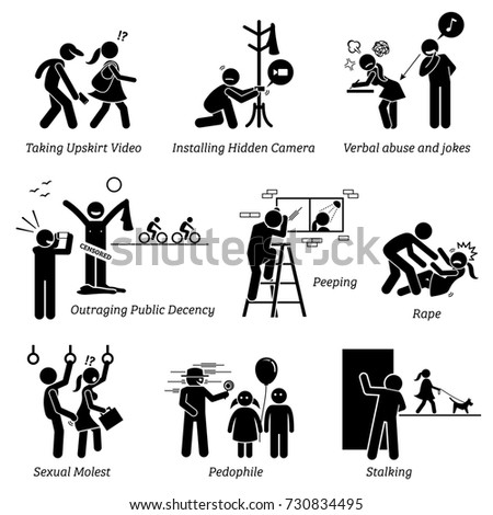 Sex Crime and Criminal. Pictogram depicts sexual harassment.