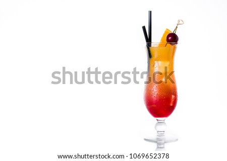 Sex on the beach cocktail in glass on white background. Copyspace