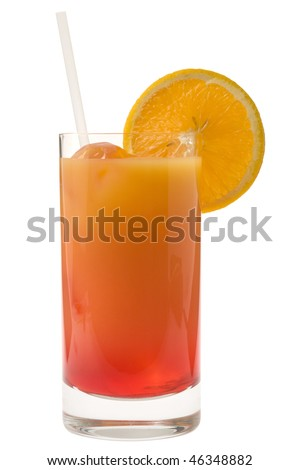 Sex on the Beach mixed drink with orange garnish on white background