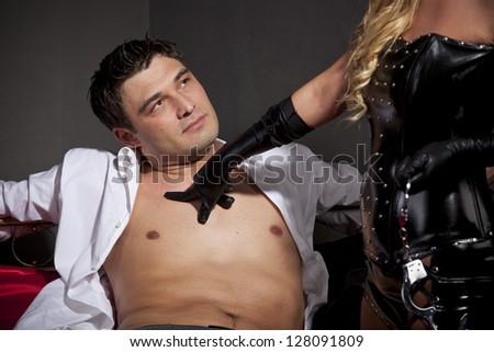 Sexual games in a bedroom