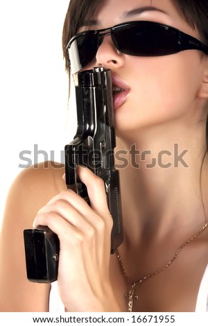 Sexual girl with gun